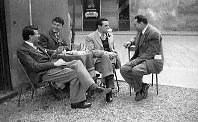 Guido SomarŽ, Emilio Tadini e Arturo Carmassi - Milano, 1956 ca